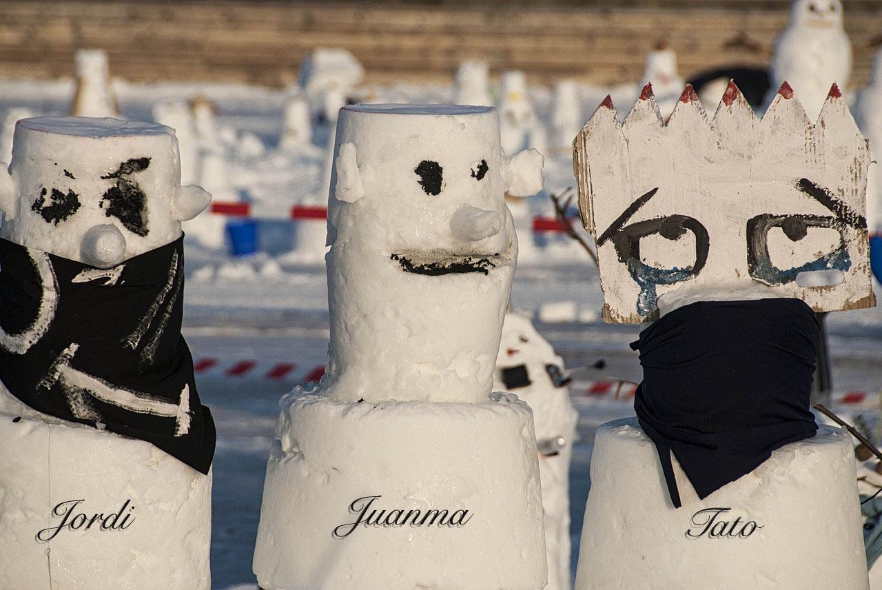 Els ninots de neu Jordi Casas, Juanma Parramon i Tato Berini.